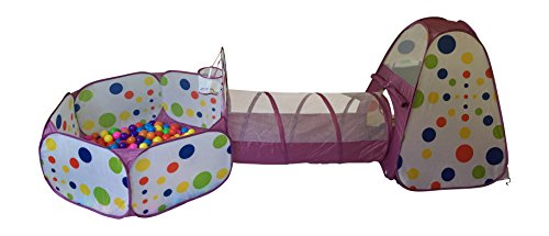 Playz 3-Piece Kids Play Tent Tunnel and Ball Pit with Basketball Hoop, Purple