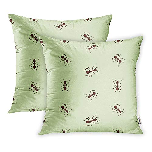 (Emvency Pack of 2 Throw Pillow Covers Print Polyester Zippered Pillowcase Bug with Small Ants on Green Way Animal Antenna Back Bright Cartoon Color 16x16 Square Decor for Home Bed)