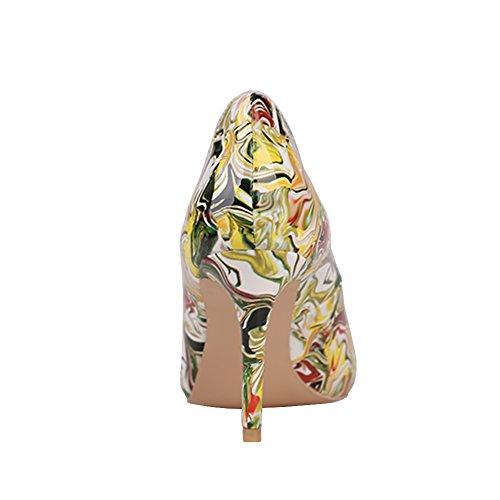 EKS - Zapatos de Tacón Mujer Gelb-Print