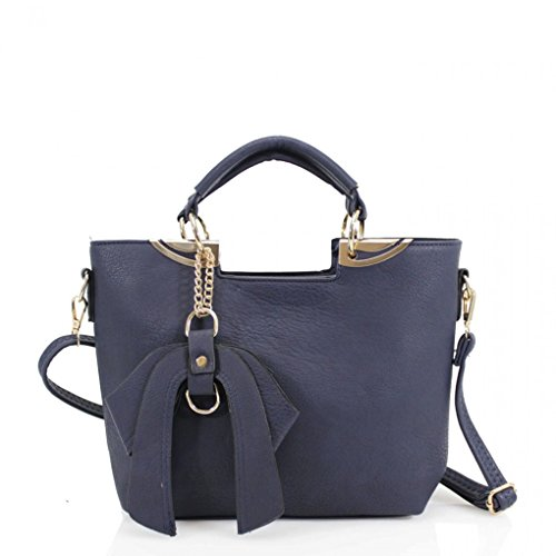 LeahWard? Women's Faux Leather Tote Grab Handbags Shoulder Bags With Bow 32 Navy Tote