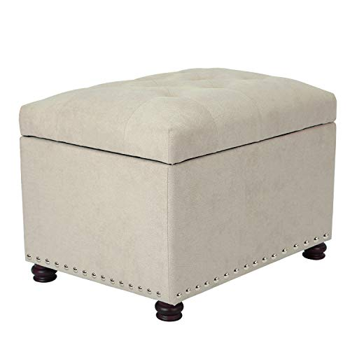 (Adeco OF0045-2 Classy Cotton Mix Fabric Accents Rectangular Storage Bench Footstool Ottomans & Storage Ottomans, White)