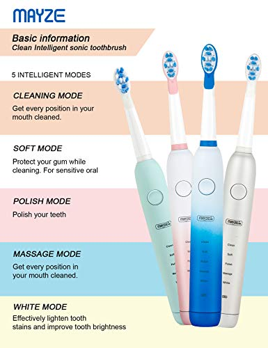 Electric Toothbrush for Adults and Teens Portable Rechargeable Whitening Sonic Toothbrushes Built-in Smart Timer and 5 Cleaning Modes with 3 Replacement Brush Heads USB Fast Charging IPX7 Waterproof