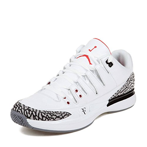 Nike Mens Zoom Vapor AJ3 Roger Federer White/Fire Red-Cement Grey Leather Athletic Sneakers Size 10 (Roger Federer Shoes Nike)