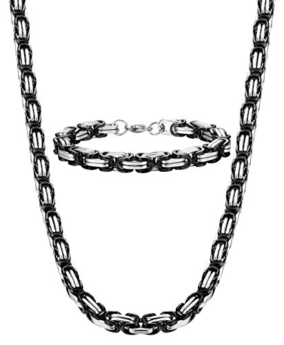 Jstyle+8mm+Stainless+Steel+Mens+Necklace+Bracelet+Set+Byzantine+Chain+Black+24+inch