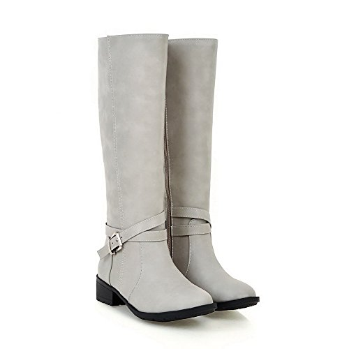 Toe Allhqfashion Round PU Heels Closed Low Solid Gray Women's Zipper Boots wITqCwrY