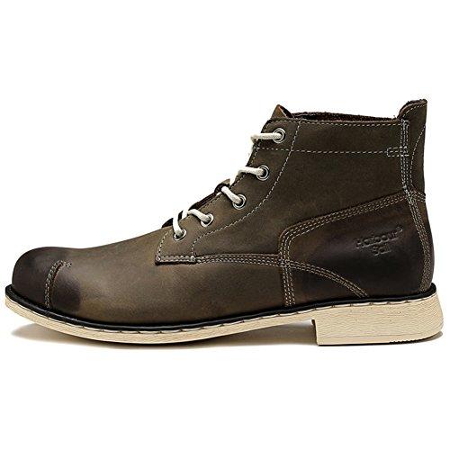 Mens Leder Freizeit Sehnen Schuhe Dress Herbst Business Stiefel Mode Rutschen Schwarzbraun Grün