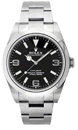Rolex Explorer Black Dial Stainless Steel Rolex Oyster Automatic Mens Watch 214270BKASO