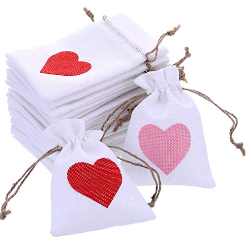 Boao 20 Pieces Valentine Drawstring Bags Fabric Treat Bags Small Gift Bags with Heart Pattern for Valentine's Day Party Favor