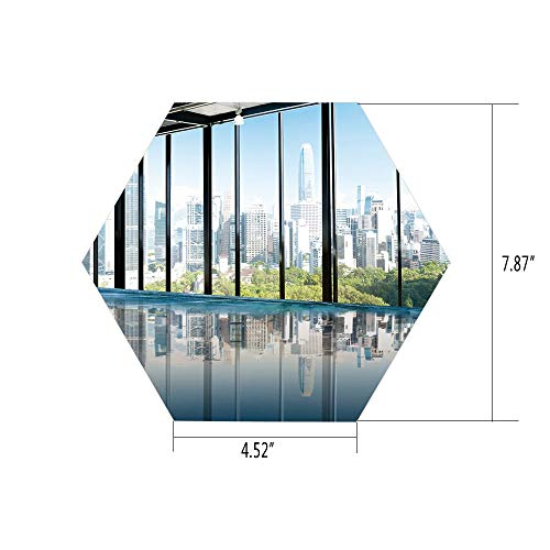 Hexagon Wall Sticker,Mural Decal,Modern Decor,Metropolitan Cityscape of New York USA in Central Park Forest Photo,Sky Blue and Green,for Home Decor 4.52x7.87 10 -