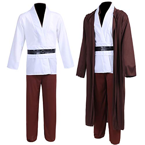 Jedi Robe Costume OBI-Wan Kenobi Halloween Knight Hooded Robe Cape Outfit 014M Brown