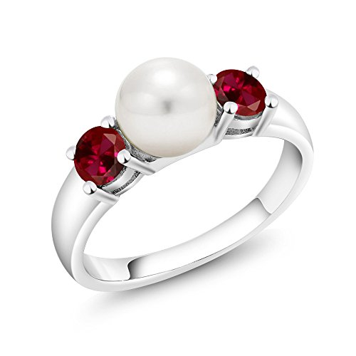 0.80 Ct Round Red Created Ruby 925 Sterling Silver Freshwater Pearl Ring (Available in size 5, 6, 7, 8, 9)