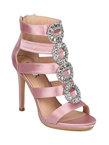 (Alrisco Satin Caged Open Toe Rhinestone Embellished Stiletto Sandal HG22 - Blush Satin (Size: 8.5))