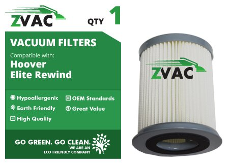 Hoover Elite Rewind Vacuum Cleaner HEPA Filter - 1 Pack -Similar to Hoover Part # 59157055 - Made by ZVac