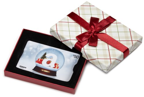 Amazon.com $50 Gift Card in a Plaid Gift Box (Holiday Globe Card - Gift Cards Christmas
