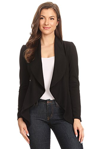 Instar Mode Women's Solid Formal Style Open Front Long Sleeves Blazer - Made in USA Black XL