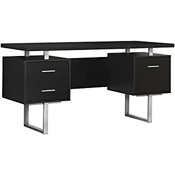 High Quality Monarch Specialties Cappuccino Hollow Core/Silver Metal Office Desk, 60 Inch