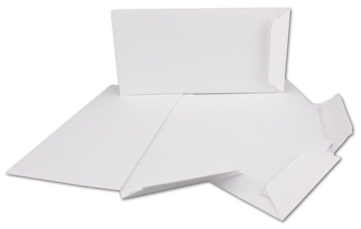 in formato DIN orizzontale da 110/x 220/mm Buste per lettere lembo adesivo/sul/lato corto 75 St/ück bianco a tasca 100/g//m/² colore: bianco