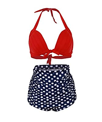 HaiCoo Retro Polka Dot Woman's Bikini Padded Halter High Waist Swimsuit