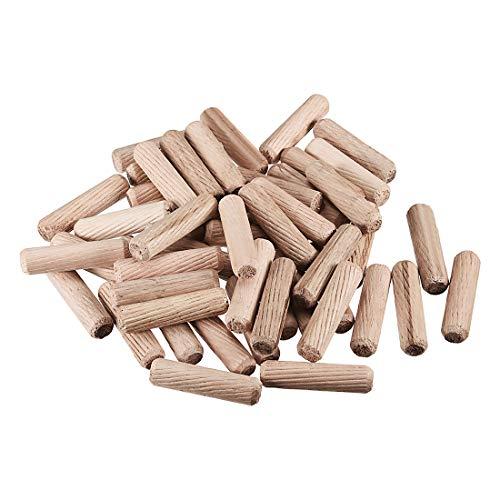 - uxcell 10x40mm Wooden Dowel Pin Wood Kiln Dried Fluted Beveled Hardwood 50pcs