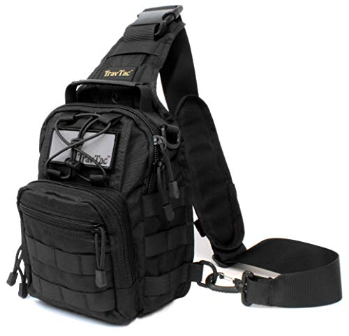 TravTac Stage II Small Sling Bag, Premium Everyday Carry Tactical Sling Pack 900D (Black)