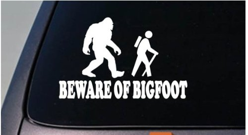 Beware of Bigfoot Decal Yeti Sasquatch camper Sticker hiking camping *D687*