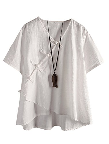 Minibee Women's Linen Retro Chinese Frog Button Tops Blouse White L -