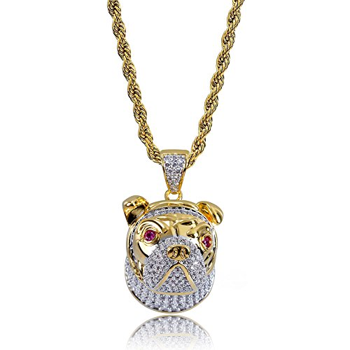 TOPGRILLZ Hip Hop 18K Iced Out CZ Simulated Diamond Owl, Pigeon,French Bulldog Pendant with 24