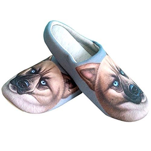 Kingseven Unisex Cute Animal Print Katoenen Huis Slippers, Antislip Indoor Schoenen Hond