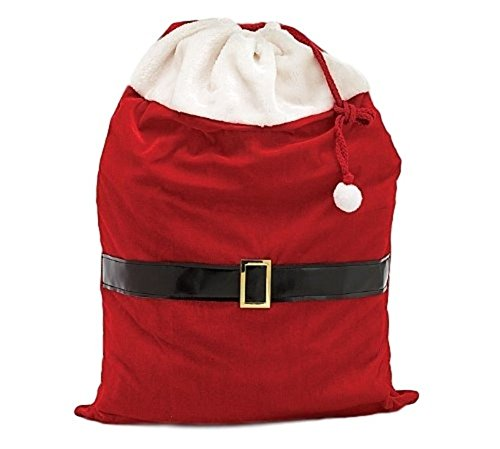 Large Santa Toy Bag Gift Wrap Bag for Christmas Gifts, Qty - Velvet Red Santa