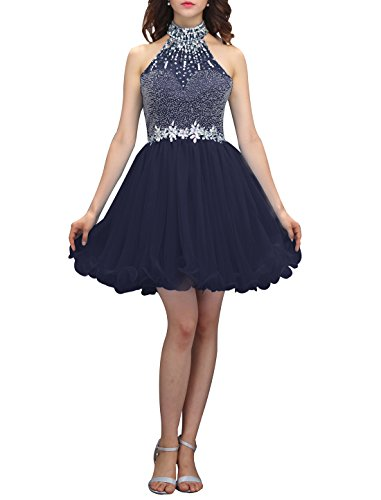 Wedtrend Women's Halter-neck Homecoming Dress with Beads Short Prom Dress WT12038Navy -