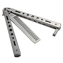New 1Pc Silver Metal Practice Butterfly Comb Style Knife Trainer Tool