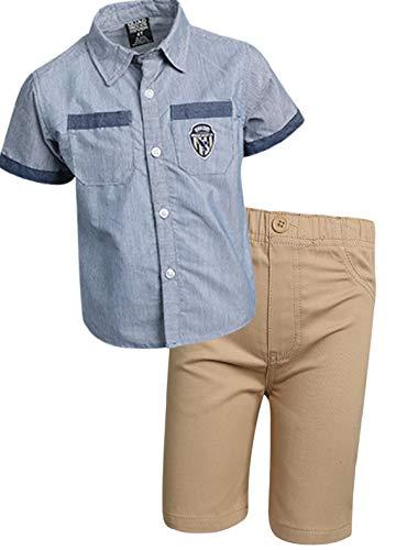 Quad Seven Boys 2-Piece Short Set (Woven Top and Twill/Denim Shorts) (Blue/Khaki Twill, 2T)'