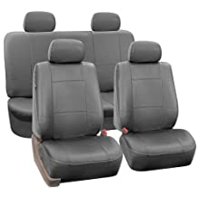 FH Group Universal Fit Seat Cover - Faux Leather (Gray) (Full Set With 4 Headrest Covers Solid)