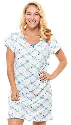 Floopi Womens Nightgown Sleepwear Cotton Pajamas - Womans Short Sleeve Scoop Neck Nightshirt (M, Blue-911)