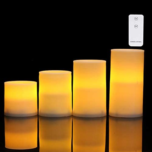 Flameless LED Candles DIY Stickers Battery Operated LED Pillar Candles with Remote Plastic Flickering Pillar Candles Unscented Indoor Outdoor,Pack of 4 D 2.95 X H 5.9 4.7 3.9