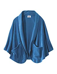 Womens Cozy Pocket Cape Fleece Shawl - Warm Poncho - French Blue
