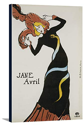 - Jane Avril (snake dress) Vintage Poster (artist: Toulouse Lautrec, Henri De) France c. 1899 (24x36 Gallery Wrapped Stretched Canvas)