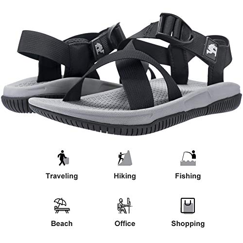 CAMEL CROWN Sport Sandals for Men Hiking Water Sandal Comfortable for Athletic Outdoor Beach Summer Walking Black 11