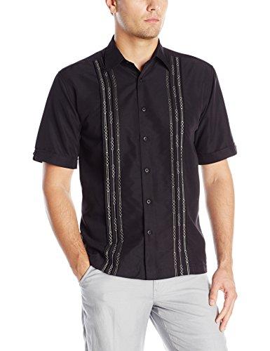 Cubavera Men's Tuck with Geometric Detail Short Sleeve Woven Shirt, Jet Black, -