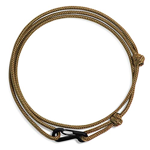 WUE Mens Bracelet Handmade with Paracord Rope and Steel Carabiner Adjutable Knots - Made in USA (Coyote Brown)]()