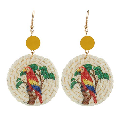Wintefei Dolphin Women Seahorse Parrot Pattern Round Rattan Charm Statement Hook Earrings 5# (Dolphins Round Earrings)
