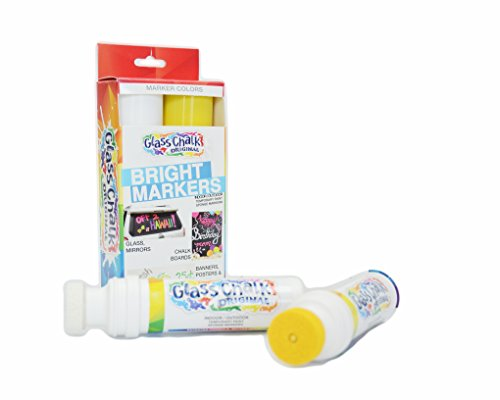 Glass Chalk - The Original Glass Chalk Markers, Designed for Kids Art, Sporting Events and Celebrations - Apply to Car Window, Menu Boards, Store Windows, or Banners - White & (Halloween Stores Spirit)