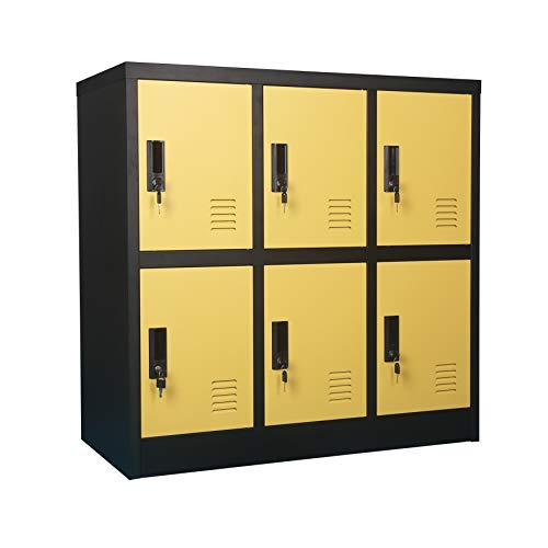 - MECOLOR Metal Kids Locker for Girls Bedroom and Playroom Storage for Clothes,Bags,Toys and Book (Yellow, 6D)