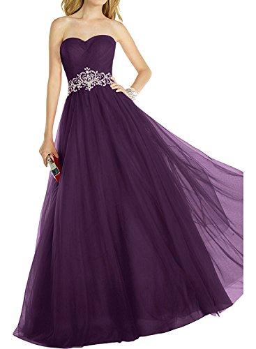 Abendkleider Herzausschnitt A Lang Ballkleider Linie Abschlussballkleider Braut mia Prinzess Elegant Abiballkleider La Rot Traube WpRwqZIH