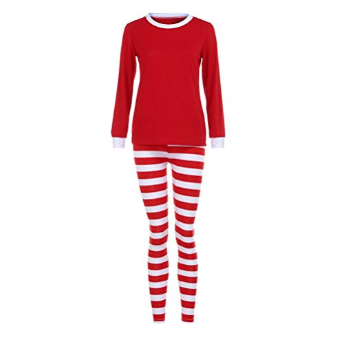 Family Clothes Set,AutumnFall Women Men Home Matching Christmas Pajamas Set Striped T-shirt Blouse +Pants (Women, S)]()