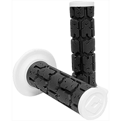 (ODI Rogue Dual-Ply Motocross/Dirt Bike Motorcycle Hand Grips - Black/White / One Size)