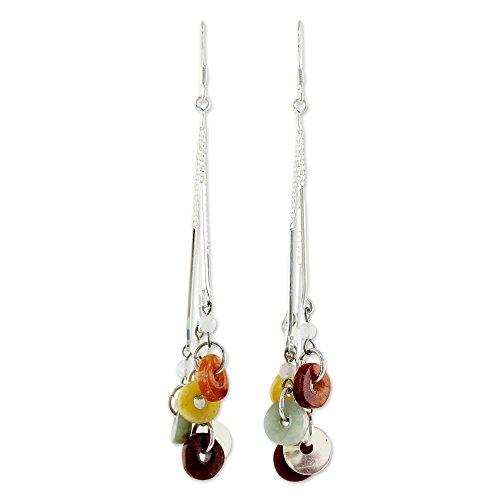 NOVICA .925 Sterling Silver Jade and Rainbow Moonstone Waterfall Earrings, 'Between (Jade Waterfall)