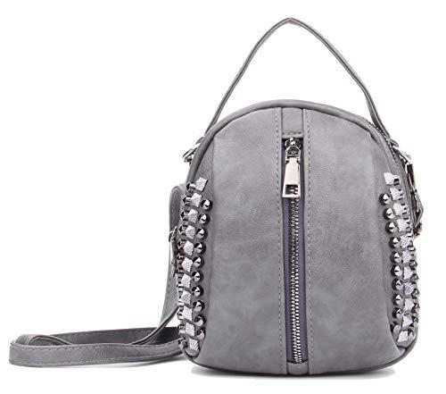 Rivet Studded Backpack Purse, Small Shoulder Bag Lightweight Top handle Bag Mini Handbag Gray