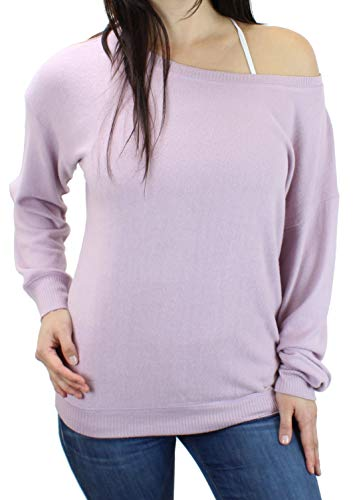 - Ms Lovely Women's Ultra Soft Off The Shoulder Boatneck Pullover Sweatshirt Cute Comfy Sweater - Pale Mauve Small