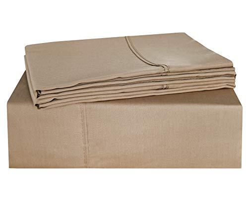 - PHF 100% Cotton Bed Sheet Set Sateen Finish Deep Pocket Natural Soft 4 Pieces Bedding Set Double Size Khaki Beige